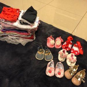 25 Piece Girl Infant Clothing and Shoe Bundle